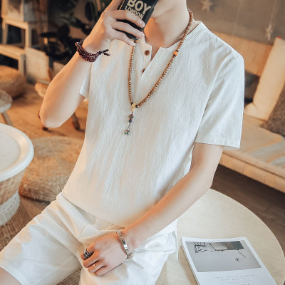 Men\'s Korean Youth Trend Fashion short Sleeve Chinese Collar  Cotton Shirt