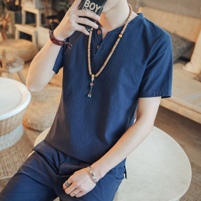 Men's Korean Youth Trend Fashion short Sleeve Chinese Collar  Cotton Shirt