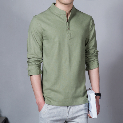 Men's Korean Youth Trend Long Sleeved Chinese Business Casual Shirt