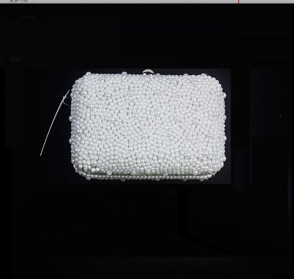 Women Korean Wild Fashion  Pearl Bridal Small Clutch Bag