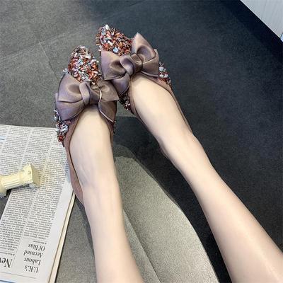 Women Korean Trend  Fashion  Head Bow Casual Suede Flat Shoes