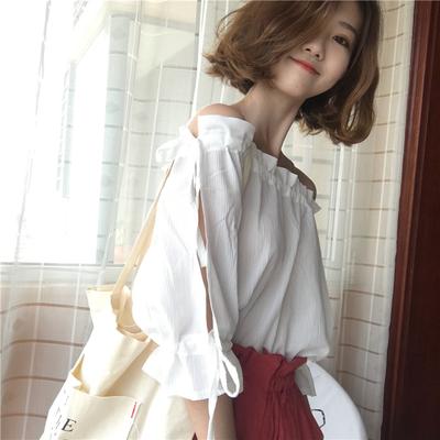 Women Korean Fashion Loose Wild Style Drawstring Off Shoulder Top