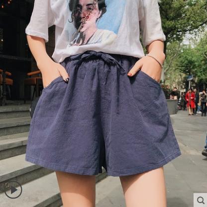 Women Korean Fashion Loose High Waist Cotton Linen Wild Short
