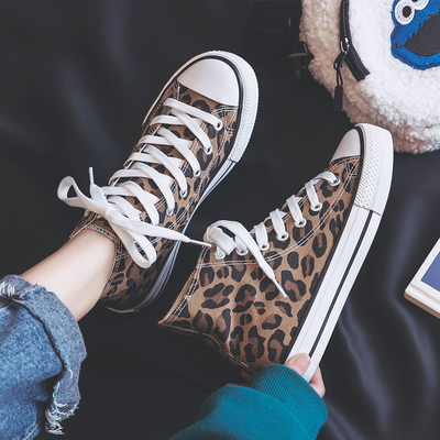Women Korean Trend  Harajuku Style Leopard Spot Canvas Sneakers