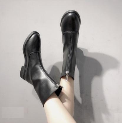 Women Korean Fashion Front Zipper Leather Hi Top Boots