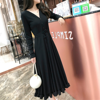 Women Korean Fashion Trend Long Sleeve Casual French Dress