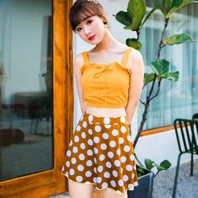 Women Korean Fashion Trend 2 Piece Skirt Type Polka Dots Swimwear