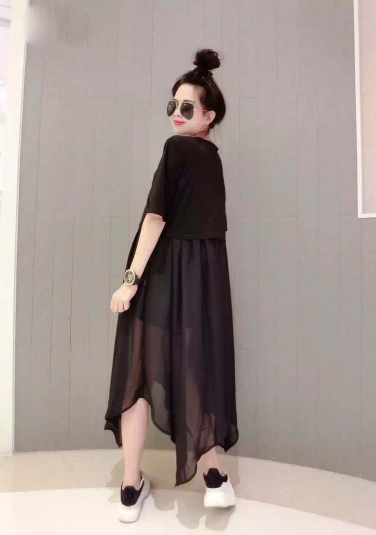 Women Korean Fashion Trend 2 Piece  Chiffon Loose Summer Dress