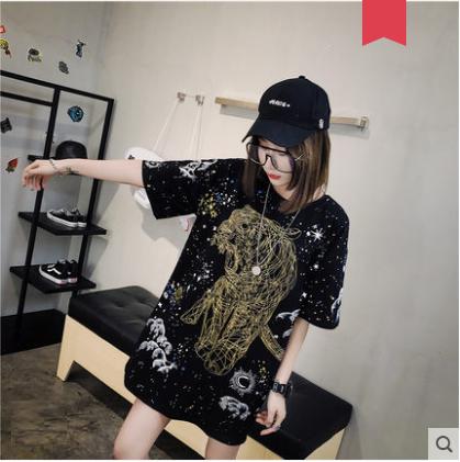 Women Korean Trend New Loose Tiger Print Black Tops