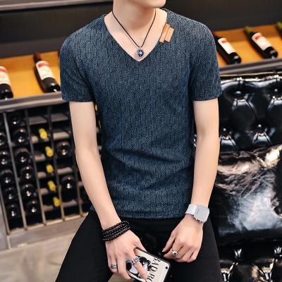 Men Korean Fashion  Short Sleeved Mesh Gauze Round Neck Tee