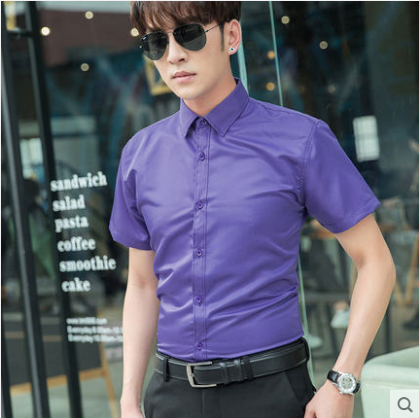 Men Korean Fashion Solid Color Casual  Short Sleeved Business Shirt