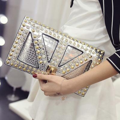 Women Korean Trend  Crocodile Pattern Clutch and Shoulder Bag