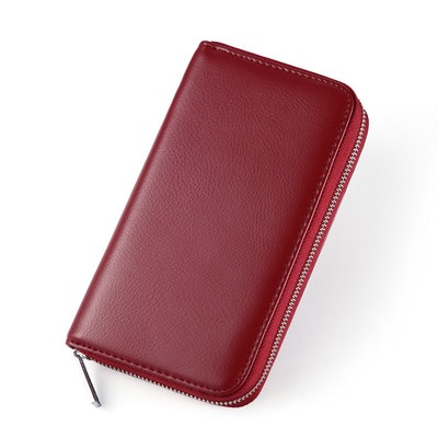Men New Trend Long Leather Zipper Multi Card Holder and Wallet