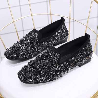 Women Korean Fashion  Wild Style Rhinestone Fairy Scoop Peas Shoes