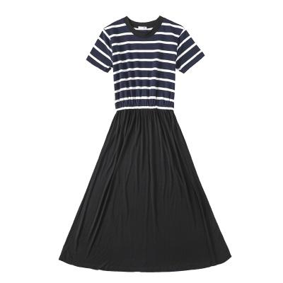 Women Korean Fashion Long Skirt Striped Top Casual Dress