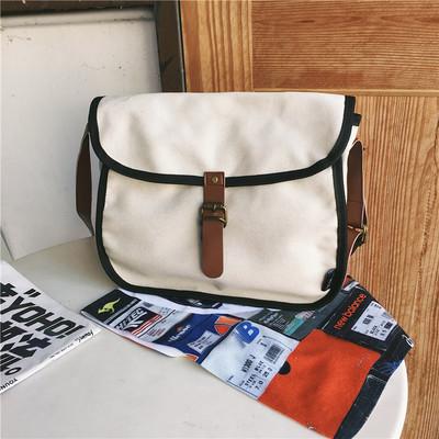 Men Korean Fashion  Small Diagonal Retro Canvas Messenger Bag