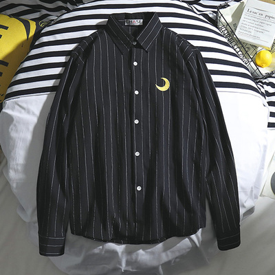 Men Korean Fashion Striped Long Sleeve Embroidery Print Loose Shirt