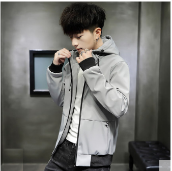 Men Korean Fashion Slim Hooded Casual Baseball Jacket