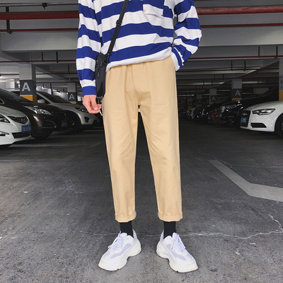 Men New Elastic Waist Straight Loose Casual Overalls Pants