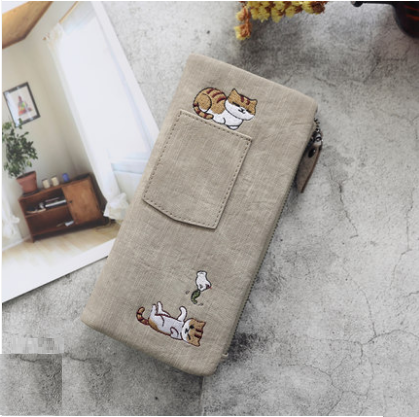 Women Embroidered Cat Mobile Phone Pocket Large Capacity Canvas Wallet