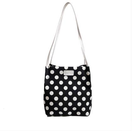 Women Korean Trend Large Capacity Polka Dots Bucket Style Shoulder Bag
