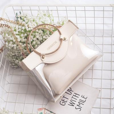 Women Korean Trend Wild Style Transparent Jelly Chain Messenger Bag