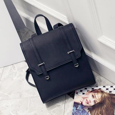 Women New British Retro Belt Casual Leather Travel Backpack