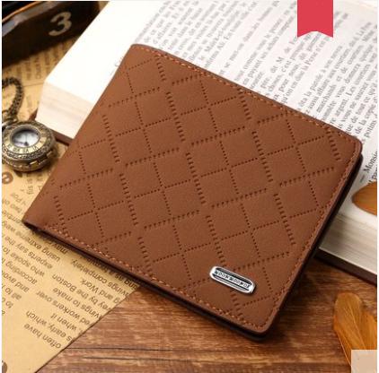 Men Korean Fashion Short Paragraph Soft Leather Plaid Wallet