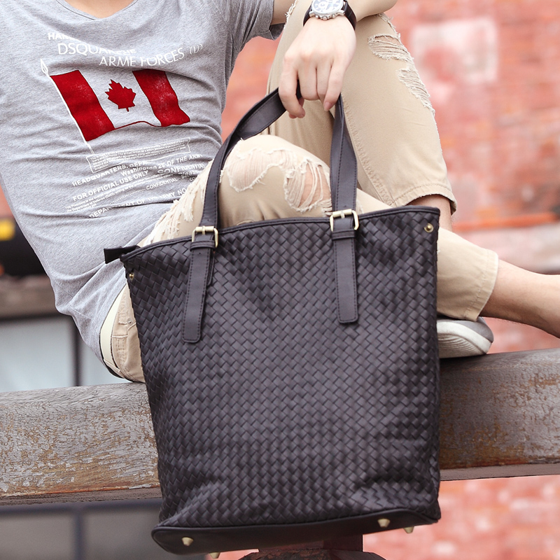 Men Korean Fashion Real Woven Trendy Casual Soft Leather Shoulder Bag