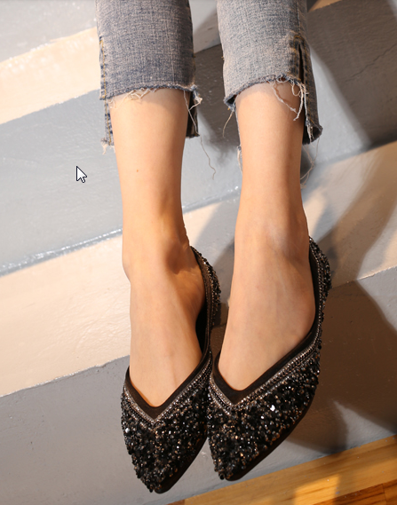 Women Korean Trend Wild Style Pointed Soft Sole Scoop Flat Shoes
