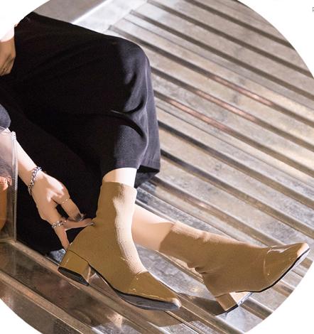 Women Korean Trend Wild Stretch Sock Style Short Tube Wool Boots