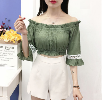 Women New Sexy Off Shoulder Chiffon Shirt
