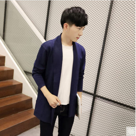 Men Korean  Youth Trend  Wild Style Long Sleeved Casual Fashion Coat