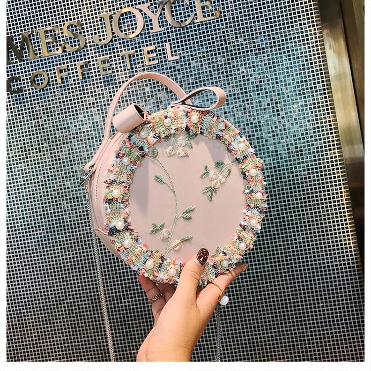 Women Korean Fashion  Fairy Lace Flower Small Round Cute Chain Bag
