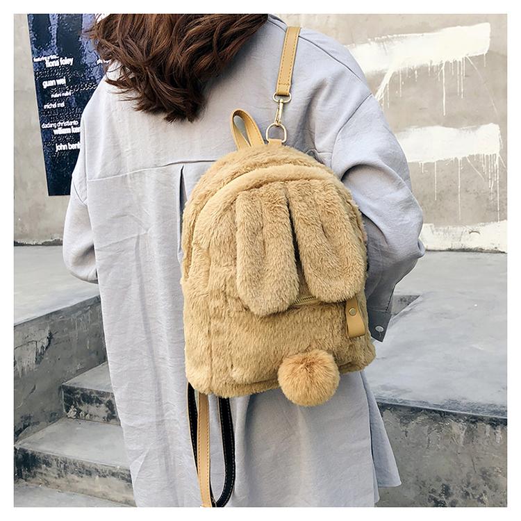 Women New Trendy Cute Rabbit Ears Plush Small Girl Backpack