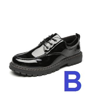 Men Korean Fashion  Wild Casual Round Head Leather Black Shoes