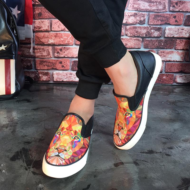 Men High Fashion 3D Lion  Print Canvas Chinese Shoes