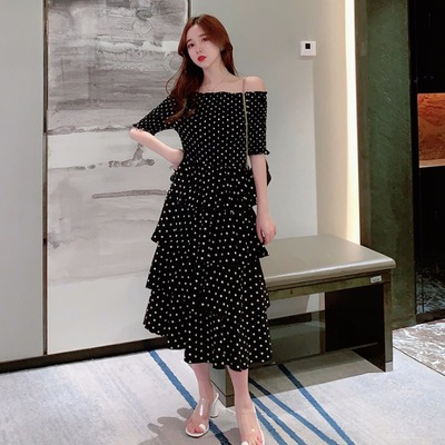 Women Korean Fashion  Long Skirt Off Shoulder Short Sleeve Polka Dots Dress