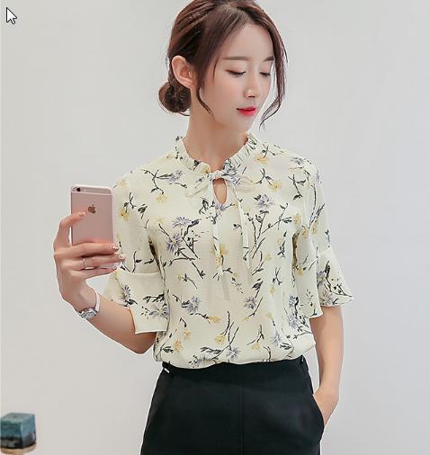 Women  Korean Fashion Simple Casual Chiffon Short Sleeved Summer Shirt