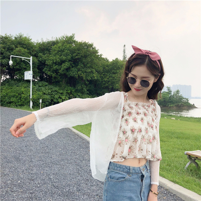Women Summer Floral Small Chiffon  Super Fairy Cardigan Shawl