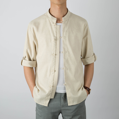 Men  Youth Trend Chinese Style Short Sleeved Cotton Linen Shirt