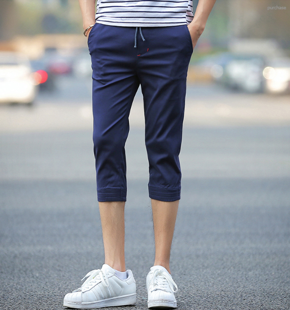 Men Korean Fashion Youth Trendy Summer Cotton Cropped Trouser