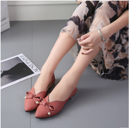 Women Shallow Mouth Pointed Suede Bow Flat Peas Shoes