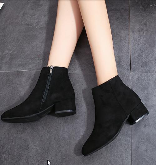 Women Korean Trend  Square Head Wild Short Velvet Zipper Boots
