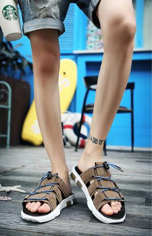 Men Korean Fashion Summer  Outdoor Wear Dual Use Suede Slippers