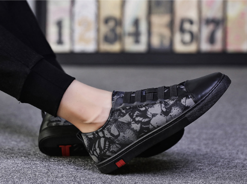 Men Korean Fashion  Street Style Youth Casual Printed Canvas Sneakers