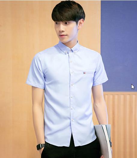 Men Fashion Summer Short Sleeve Collar Slim Solid Color Casual Shirt