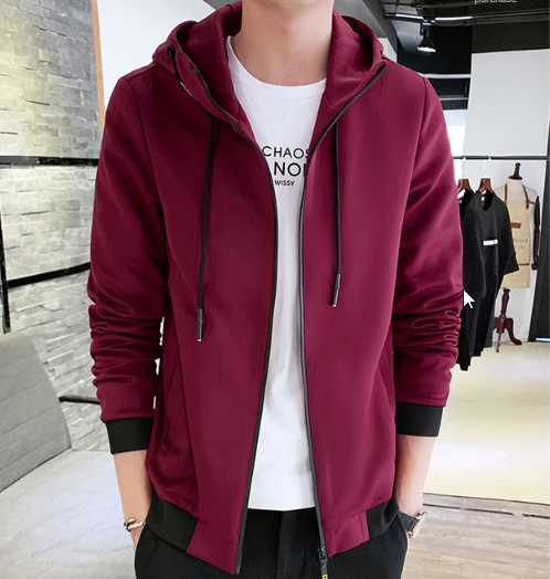 Men Korean Trend  Youth Style Thick  Slim Fit Hooded Jacket