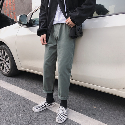 Men Korean Trend  Youth Style Loose Overalls Solid Color Harlan Pants