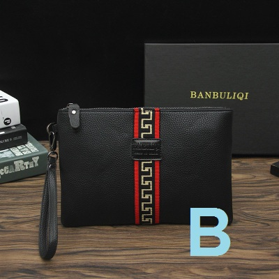 Men Fashion New Business Leather Envelope Casual Hand Clip Clutch Bag